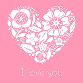 Flower heart on pink romantic greeting card, vector background — Stock Vector