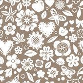 Weisse Blumen Schmetterlinge und Herzen auf grau nahtlose Muster, Vektor — Stockvektor