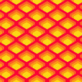 Geometric overlapped squares seamless pattern in red and yellow, vector — Stock Vector