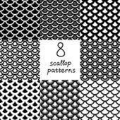 Black and white scallop seamless patterns set, vector — Stock Vector