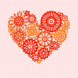 Colorful red and orange crochet lace flowers heart on polka dot background romantic greeting card, vector — Stock Vector