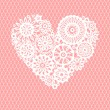 White crochet lace flowers heart on pink mesh romantic greeting card, vector background — Stock Vector