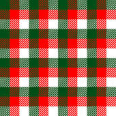 Checkered gingham fabric seamless pattern in green white and red, vector — Stock Vector