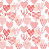 Striped red hearts on white seamless pattern, vector — Stock Vector
