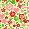 Colorful red and green flowers leaves and hearts spring seamless pattern, vector — Stock Vector
