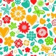 Colorful flowers leaves and hearts spring seamless pattern on white, vector — Stock Vector