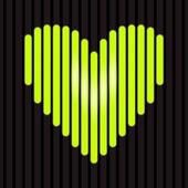 Neon green glowing heart background, vector — Stock Vector