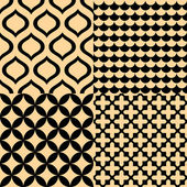 Beige and black geometric seamless patterns set, vector — Stock Vector