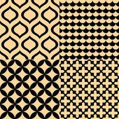 Béžové a černé bezešvé geometrických vzorů sada, vektor — Stock vektor