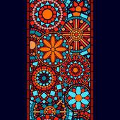 Colorful circle flower mandalas seamless border in blue red and orange, vector — Vecteur