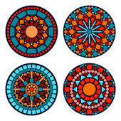 Colorful circle floral ethnic mandalas set in blue red and orange, vector — Stock Vector