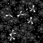Black and white asian sakura flowers seamless pattern, vector — Stock Vector