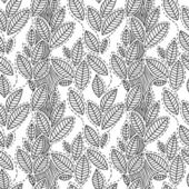 Black and white striped leaves seamless pattern, vector — Stock Vector