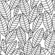 Black and white leaves seamless pattern, vector — Stock Vector