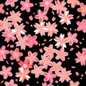 Pink asian sakura flowers on black seamless pattern, vector — Stock Vector
