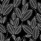 Black and white leaves doodles seamless pattern, vector — Stock Vector