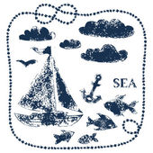 Sea themed handprinted elements - boat, clouds, fishes, anchor, vector background — Stock Vector