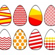 Colorful red yellow and white patterned modern easter eggs collection, vector — Stock Vector