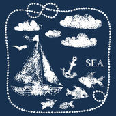 White sea themed hand printed elements on navy blue - boat, clouds, fishes, anchor, vector background — Stock Vector