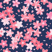 Pink asian sakura flowers on navy blue seamless pattern, vector — Stock Vector