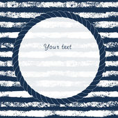Navy blue and white circle rope frame on grunge striped background for your text or image, vector — Stock Vector