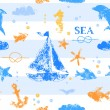 Blue and orange grunge stamp print sailboat, anchor, fishes, seagull on striped white background seamless pattern, vector — Stock Vector #43934513