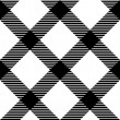 Checkered gingham fabric seamless pattern in black and white, vector — Stock Vector