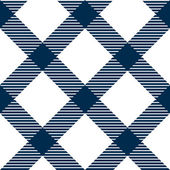 Checkered gingham fabric seamless pattern in blue and white, vector — Stock Vector