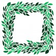 Green leaves fresh spring wreath frame on white background, vector — Stock Vector