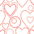 Red and pink grunge hearts and circles on white seamless pattern, vector — Stock Vector #45146077