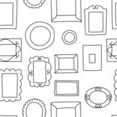 Gallery wall frames on a wall seamless pattern in black and white, vector — Stock Vector