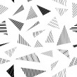 Abstract geometric striped triangles seamless pattern in black and white, vector — Stock Vector #46431641