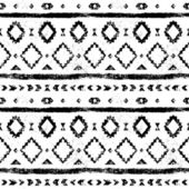 Black and white aged geometric aztec grunge seamless pattern, vector — Vetor de Stock