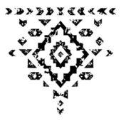 黑色和白色老年几何阿兹台克 grunge 饰品矢量 — 图库矢量图片