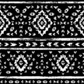 White aztec ornaments on black geometric ethnic seamless pattern, vector — Stockvector