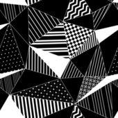 Astratto geometrico a strisce il modello senza saldatura triangoli in bianco e nero, vettoriale — Vettoriale Stock