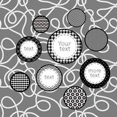 Siyah-beyaz desenli daireler infographics şablon arka plan, vektör — Stok Vektör