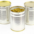The tins with peas — Stock Photo