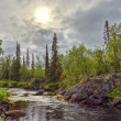 Mystical landscape on the Polisarka river. Kola Peninsula. — Stock Photo #44884943