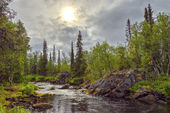Mystical landscape on the river Polisarke. Kola Peninsula. — Stock Photo