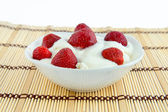 Strawberries with cream cheese and sour cream. — Stock Photo