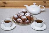 Donuts with tea — Foto de Stock