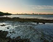 Miami skyline vid solnedgången — Stockfoto