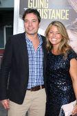 Jimmy Fallon & Wife Nancy Juvonen — Stock Photo