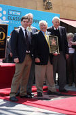 Max Brooks, host of TCM Robert Osborne, honoree Mel Brooks and actor Carl Reiner — Stock Photo