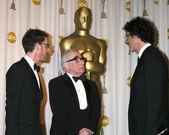 Joel & Ethan Coen , with Martin Scorsese — Stock Photo