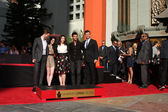 Robert Pattinson, Kristen Stewart, Stephanie Meyers, Taylor Lautner, Jimmy Kimmel — Stock Photo