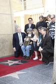 Actor Dennis Hopper, (L-R) CityCouncilman Tom LeBonge, producer Mark Canton — Stock Photo