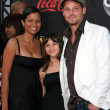 Justin Chambers, wife and daughter - Stock Photo