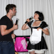 Daniel Goddard with Singing Telegram Actress — Stock Photo #13073809